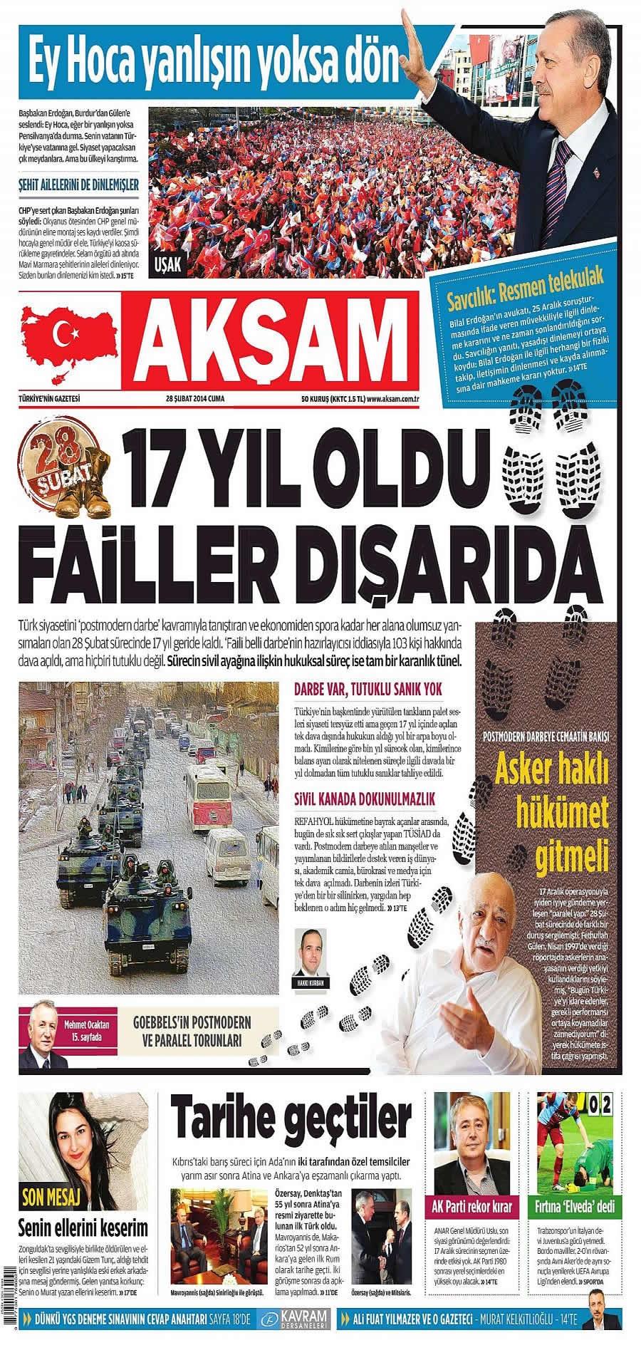 28 Şubat gazete manşetleri galerisi resim 1