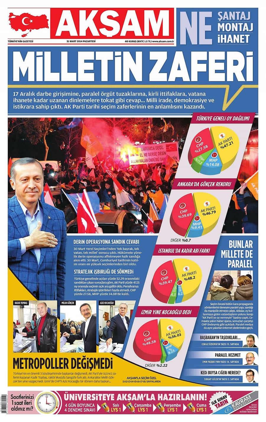 31 Mart gazate manşetleri galerisi resim 1