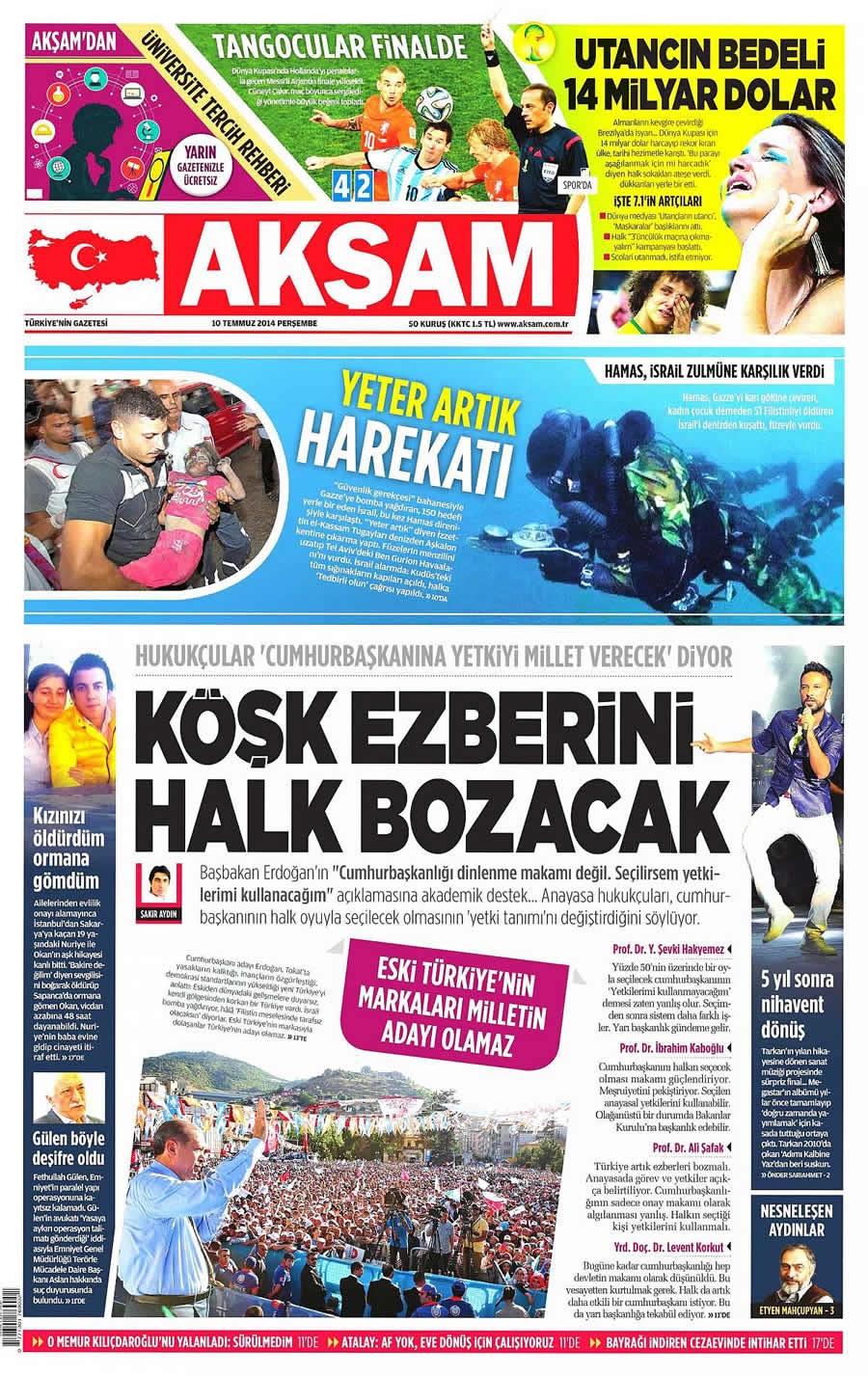 10 Temmuz Gazete Manşetleri galerisi resim 1