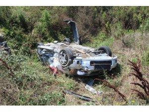 Tekirdağ'da virajı alamayan otomobil tarlaya uçtu: 2 yaralı