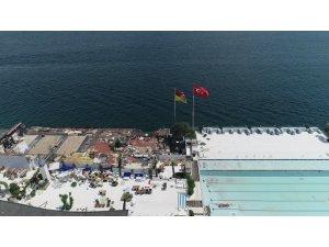 Galatasaray Adası'nda son durumu havadan görüntülendi