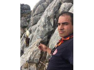 Kayalıklarda mahsur kalan keçileri itfaiye kurtardı