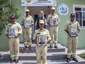 Yangın ekibi şehit meslektaşlarını unutmadı