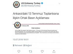 """ABD Büyükelçiliği: """"Türk ve Amerikalı yetkililer adli ve hukuki meselelerde önemli görüşmelerde bulunmuşlardır"""""""