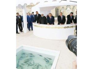 Hazar Zirvesi'ne katılan devlet başkanları Hazar Denizi'ne balık bıraktı