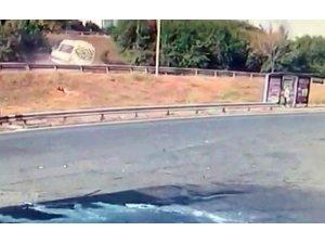 TEM Otoyolu'ndaki feci kaza güvenlik kamerasında