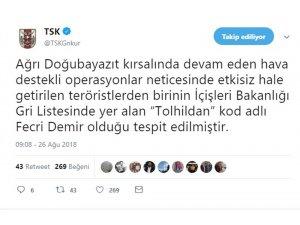 "TSK: ""Gri listede yer alan terörist öldürüldü"""