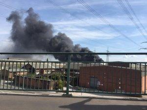 Almanya'da lastik deposunda çıkan yangın korkuttu