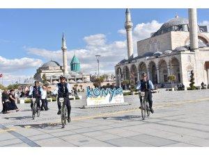 Konya'da bisikletli zabıtalar görevde
