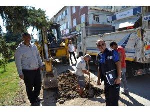 Şuhut Belediyesi su arıza ekiplerinden patlak çalışması