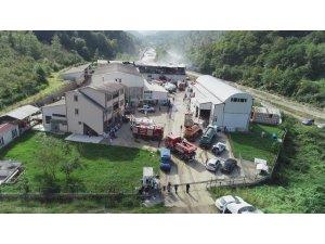 Trabzon'da süt ürünleri imalatı yapılan fabrikada çıkan yangın söndürüldü