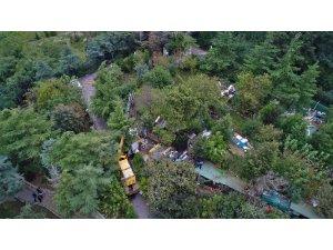 Adnan Oktar'ın villasında başlayan yıkım çalışması havandan görüntülendi