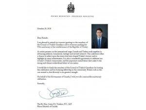 Kanada Başbakanı Trudeau, Cumhuriyet Bayramını kutladı