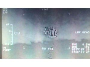 Göçmenlerin kurtarılma anı havadan görüntülendi