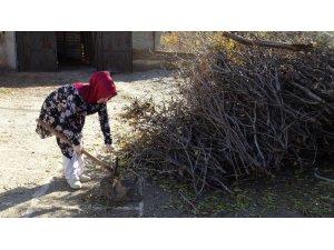 Odun kırıp sobayı yakarak öğrencilerine ders veriyor