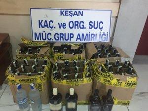 Edirne'de 72 şişe kaçak içki yakalandı