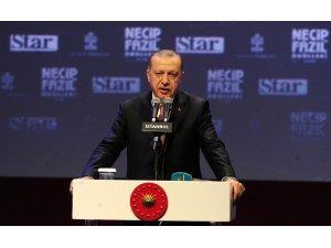 """Cumhurbaşkanı Erdoğan: """"Necip Fazıl belli çevrelerin karakter suikastına maruz kalmıştır"""""""