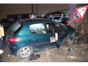 Ağaca çarpan alkollü sürücü aracından burnu bile kanamadan çıktı