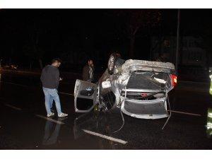 Genç şoför kaygan zemini hesaba katamadı