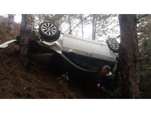 Hurdaya dönen araçtan sağ kurtuldu