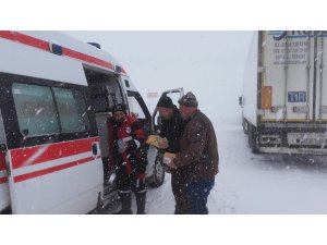 Kızıldağ kar nedeniyle araç ulaşımına kapandı