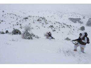 Komandolardan karlı dağlarda terörle mücadele tatbikatı