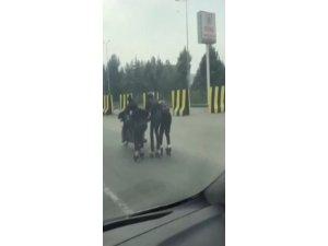 Patenli gençler, kazaya davetiye çıkardı