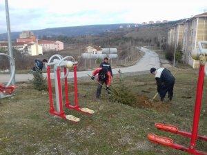 Simav'da park alanları ağaçlandırılıyor