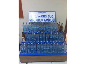 Keşan'da 73 şişe kaçak içki yakalandı