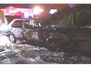 Otomobili çalıp yaktılar
