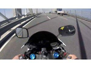 Yavuz Sultan Selim Köprüsü'nde tek teker üstünde ilerleyen maganda kamerada