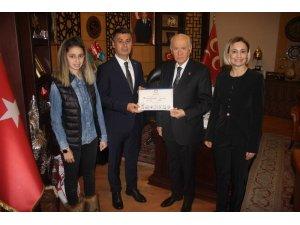 Mazbatasını alan başkan MHP lideri Bahçeli'yi ziyaret etti