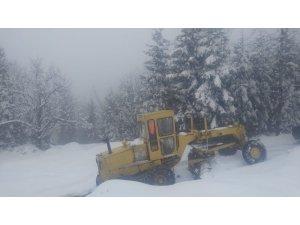 Karla kaplı yollar belediye tarafından hızla açılıyor