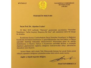 Kazakistan Büyükelçiliğinden Prof. Dr. Ceylan'a teşekkür mektubu