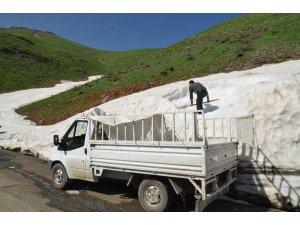 Dağlardan topladıkları karları ilçede sattılar
