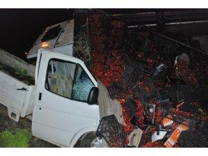 Kiraz yüklü kamyon kamyonetin üzerine devrildi: 3 yaralı