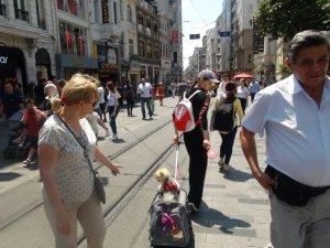Özel arabasıyla gezen köpek İstiklal Caddesi'nde ilgi odağı oldu