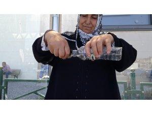 Sıcaktan bunalan civcivleri elindeki pet şişe su ile serinletti