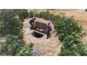 Çalılarla çevrili kaçak kazıya droneli operasyon: 4 gözaltı