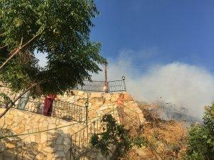 Villaların yamacında korkutan muz bahçesi yangını