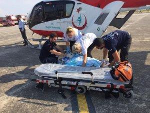 Helikopter ambulans 60 yaşındaki hasta için havalandı