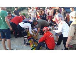 Burhaniye'de otomobil takla attı: 3 yaralı