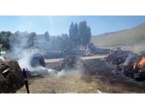 Ağrı'da çıkan yangında 110 ton ot küle döndü