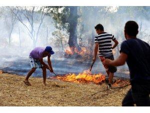 Güreşi bırakıp yangına koştular