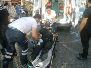 Polisten kaçan motosiklet sürücüsü polise çarptı