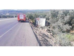 Mersin'de üzüm yüklü kamyon devrildi: 1 yaralı