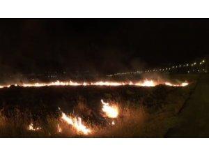 Yol kenarında çıkan yangın, fıstık bahçesine sıçramadan söndürüldü