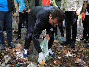 İBB Başkanı Ekrem İmamoğlu eldiveni taktı, çöp topladı...
