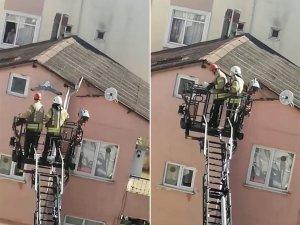 Çatıdaki ipe ayağı takılan martıyı kurtarma operasyonu kamerada