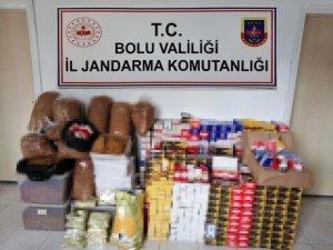 Bolu'da 120 bin lira değerinde kaçak tütün ve malzemeler ele geçirildi
